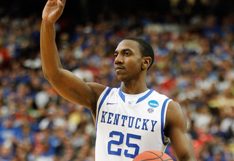 ATLANTA, GA - MARCH 25:  Marquis Teague #25 of the Kentucky Wildcats calls a play against the Baylor Bears during the 2012 NCAA Men's Basketball South Regional Final at the Georgia Dome on March 25, 2012 in Atlanta, Georgia.  (Photo by Streeter Lecka/Gett