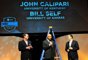 NEW ORLEANS, LA - APRIL 01:  Bill Self (L), head coach of the Kansas Jayhawks, and John Calipari (R), head coach of the Kentucky Wildcats, are interviewed together at the NABC Guardians of the Game Awards Program on April 1, 2012 in New Orleans, Louisiana