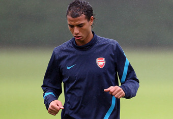 ST ALBANS, ENGLAND - AUGUST 23:  Marouane Chamakh of Arsenal in action during a training session ahead of their UEFA Champions League Qualifying second leg match against Udinese at London Colney on August 23, 2011 in St Albans, England.  (Photo by Julian