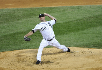 CHICAGO, IL - SEPTEMBER 23:  Starting pitcher John Danks #50 of the Chicago White Sox delivers during the third inning against the Kansas City Royals at U. S. Cellular Field on September 24, 2011 in Chicago, Illinois.   (Photo by Brian Kersey/Getty Images