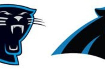 This Photo from the Charlotte Observer Shows the New Panthers Logo (Right)