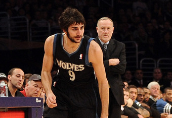 LOS ANGELES, CA - FEBRUARY 29:  Ricky Rubio #9 of the Minnesota Timberwolves dribbles away from a fallen Kobe Bryant #24 of the Los Angeles Lakers at Staples Center on February 29, 2012 in Los Angeles, California.  NOTE TO USER: User expressly acknowledge