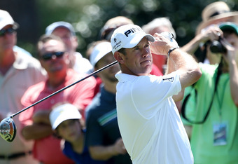 AUGUSTA, GA - APRIL 02:  Lee Westwood of England hits a tee shot during a practice round prior to the start of the 2012 Masters Tournament at Augusta National Golf Club on April 2, 2012 in Augusta, Georgia.  (Photo by Andrew Redington/Getty Images)