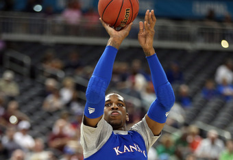 NEW ORLEANS, LA - MARCH 30:  Thomas Robinson #0 of the Kansas Jayhawks shoots the ball during practice prior to the 2012 Final Four of the NCAA Division I Men's Basketball Tournament at the Mercedes-Benz Superdome on March 30, 2012 in New Orleans, Louisia