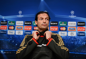 BARCELONA, SPAIN - APRIL 02:  Head coach Massimiliano Allegri of AC Milan looks on during a press conference, ahead of the Champions League quarter-final second leg match between FC Barcelona and AC Milan, at the Camp Nou stadium on April 2, 2012 in Barce
