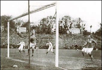 Sandy Turnbull scores the winning goal in the 1909 FA Cup Final.