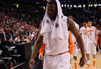 BOSTON, MA - MARCH 24:  Dion Waiters #3 of the Syracuse Orange walks off the court after losing to the Ohio State Buckeyes during the 2012 NCAA Men's Basketball East Regional Final at TD Garden on March 24, 2012 in Boston, Massachusetts.  (Photo by Elsa/G