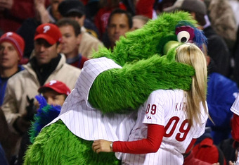 PHILADELPHIA - OCTOBER 19:  The Philly Phanatic, mascot for the Philadelphia Phillies performs against the Los Angeles Dodgers in Game Four of the NLCS during the 2009 MLB Playoffs at Citizens Bank Park on October 19, 2009 in Philadelphia, Pennsylvania.
