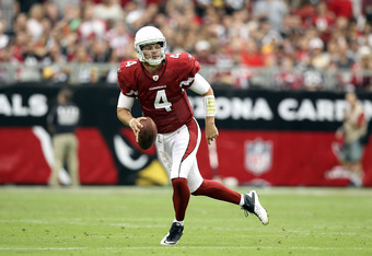 GLENDALE, AZ - OCTOBER 23:  Quarterback Kevin Kolb #4 of the Arizona Cardinals scrambles with the football during the NFL game against the Pittsburgh Steelers at the University of Phoenix Stadium on October 23, 2011 in Glendale, Arizona. The Steelers defe