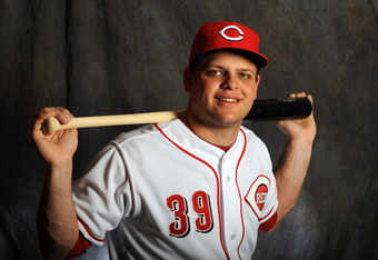 GOODYEAR, AZ - FEBRUARY 25:  Devin Mesoraco of the Cincinnati Reds poses for a portrait during a photo day at Goodyear Ballpark on February 25, 2012 in Goodyear, Arizona. (Photo by Rich Pilling/Getty Images)