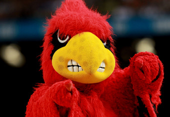 NEW ORLEANS, LA - MARCH 31:  The Louisville Cardinals mascot cheers during the National Semifinal game of the 2012 NCAA Division I Men's Basketball Championship against the Kentucky Wildcats at the Mercedes-Benz Superdome on March 31, 2012 in New Orleans,