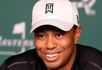 AUGUSTA, GA - APRIL 03:  Tiger Woods speaks to the media during a practice round prior to the start of the 2012 Masters Tournament at Augusta National Golf Club on April 3, 2012 in Augusta, Georgia.  (Photo by David Cannon/Getty Images)