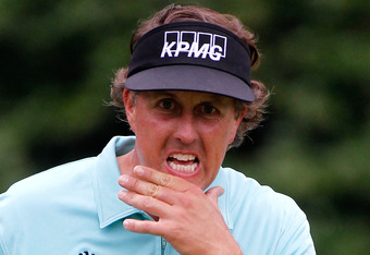 AUGUSTA, GA - APRIL 03:  Phil Mickelson looks on during a practice round prior to the start of the 2012 Masters Tournament at Augusta National Golf Club on April 3, 2012 in Augusta, Georgia.  (Photo by Streeter Lecka/Getty Images)