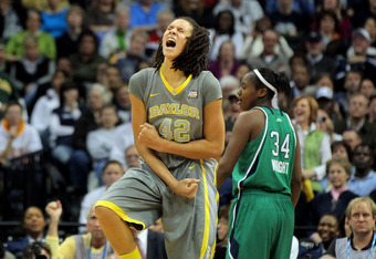 DENVER, CO - APRIL 03:  Brittney Griner #42 of the Baylor Bears celebrates late in the second ahlf against the Notre Dame Fighting Irish during the National Final game of the 2012 NCAA Division I Women's Basketball Championship at Pepsi Center on April 3,