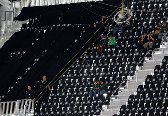 ARLINGTON, TX - FEBRUARY 06:  Some of the 400 temporary seats that will no longer be used since they were not complete are marked off before the Pittsburgh Steelers play against the Green Bay Packers during Super Bowl XLV at Cowboys Stadium on February 6,