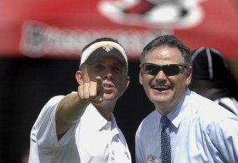 Sean Payton an Mickey Loomis in happier times for the New Orleans Saints.