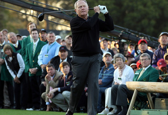 AUGUSTA, GA - APRIL 07:  Jack Nicklaus watches his ceremonial first tee shot to start the first round of the 2011 Masters Tournament at Augusta National Golf Club on April 7, 2011 in Augusta, Georgia.  (Photo by Ross Kinnaird/Getty Images for Golf Week)