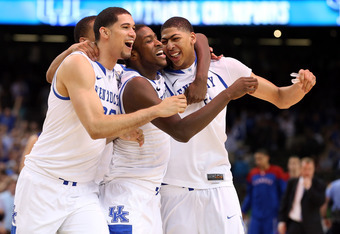 NEW ORLEANS, LA - APRIL 02:  Eloy Vargas #30, Darius Miller #1, Anthony Davis #23 and Twany Beckham #10 of the Kentucky Wildcats celebrate defeating the Kansas Jayhawks 67-59 in the National Championship Game of the 2012 NCAA Division I Men's Basketball T