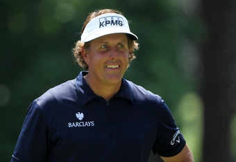 AUGUSTA, GA - APRIL 04:  Phil Mickelson smiles during the Par 3 Contest prior to the start of the 2012 Masters Tournament at Augusta National Golf Club on April 4, 2012 in Augusta, Georgia.  (Photo by Jamie Squire/Getty Images)
