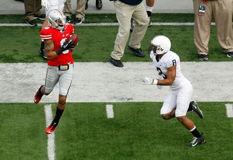 COLUMBUS, OH - NOVEMBER 19:  DeVier Posey #8 of the Ohio State Buckeyes catches a pass over D'Anton Lynn #8 of the Penn State Nittany Lions during the first quarter on November 19, 2011 at Ohio Stadium in Columbus, Ohio. (Photo by Kirk Irwin/Getty Images)