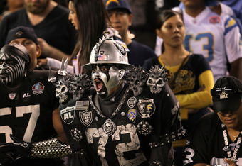 SAN DIEGO, CA - NOVEMBER 10:  Oakland Raiders fans in costumes attend the game against the San Diego Chargers at Qualcomm Stadium on November 10, 2011 in San Diego, California.  (Photo by Stephen Dunn/Getty Images)