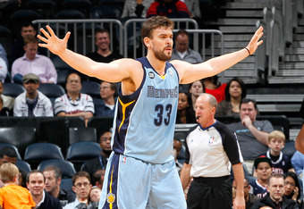 ATLANTA, GA - FEBRUARY 02:  Marc Gasol #33 of the Memphis Grizzlies against the Atlanta Hawks at Philips Arena on February 2, 2012 in Atlanta, Georgia.  NOTE TO USER: User expressly acknowledges and agrees that, by downloading and or using this photograph