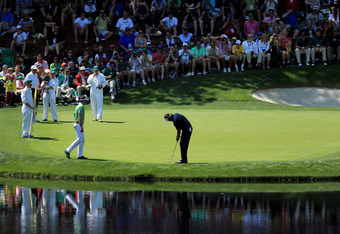 AUGUSTA, GA - APRIL 04:  Phil Mickelson of the USA putting during the Par 3 Contest prior to the start of the 2012 Masters Tournament at Augusta National Golf Club on April 4, 2012 in Augusta, Georgia.  (Photo by David Cannon/Getty Images)