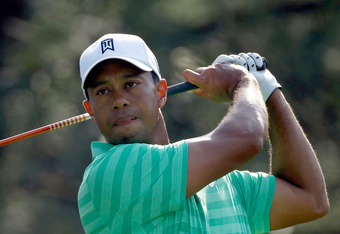 AUGUSTA, GA - APRIL 04:  Tiger Woods tees off during a practice round prior to the start of the 2012 Masters Tournament at Augusta National Golf Club on April 4, 2012 in Augusta, Georgia.  (Photo by Streeter Lecka/Getty Images)