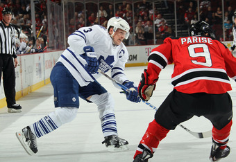 NEWARK, NJ - MARCH 23: Dion Phaneuf #3 of the Toronto Maple Leafs skates against the New Jersey Devils at the Prudential Center on March 23, 2012 in Newark, New Jersey. The Maple Leafs defeated the Devils 4-3 in the shootout.  (Photo by Bruce Bennett/Gett