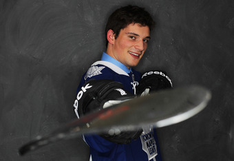 ST PAUL, MN - JUNE 24:  22nd overall pick Tyler Biggs of the Toronto Maple Leafs poses for a portrait during day one of the 2011 NHL Entry Draft at Xcel Energy Center on June 24, 2011 in St Paul, Minnesota.  (Photo by Nick Laham/Getty Images)