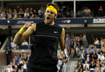 NEW YORK - SEPTEMBER 14:  Juan Martin Del Potro of Argentina celebrates a point in the fifth set against Roger Federer of Switzerland during the Men's Singles final on day fifteen of the 2009 U.S. Open at the USTA Billie Jean King National Tennis Center o