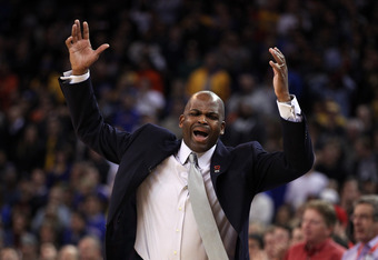 OAKLAND, CA - FEBRUARY 15:  Head coach Nate McMillan of the Portland Trail Blazers reacts during their game against the Golden State Warriors at Oracle Arena on February 15, 2012 in Oakland, California. NOTE TO USER: User expressly acknowledges and agrees
