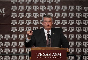 COLLEGE STATION, TX - SEPTEMBER 26:  Athletic director Bill Byrne of the Texas A&M Aggies speaks during a pep rally for Texas A&M accepting an invitation to join the Southeastern Conference on September 26, 2011 in College Station, Texas. (Photo by Aaron