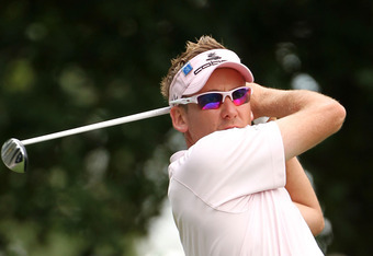 AUGUSTA, GA - APRIL 05:  Ian Poulter of England hits a tee shot on the fourth hole during the first round of the 2012 Masters Tournament at Augusta National Golf Club on April 5, 2012 in Augusta, Georgia.  (Photo by Jamie Squire/Getty Images)