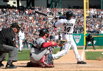 Austin Jackson's ninth-inning RBI single gave the Tigers an opening day win.