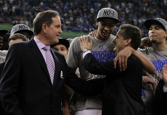 NEW ORLEANS, LA - APRIL 02:  Anthony Davis #23 hugs head coach John Calipari of the Kentucky Wildcats after defeating the Kansas Jayhawks 67-59 in the National Championship Game of the 2012 NCAA Division I Men's Basketball Tournament at the Mercedes-Benz