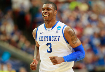 ATLANTA, GA - MARCH 25:  Terrence Jones #3 of the Kentucky Wildcats reacts against the Baylor Bears during the 2012 NCAA Men's Basketball South Regional Final at the Georgia Dome on March 25, 2012 in Atlanta, Georgia.  (Photo by Kevin C. Cox/Getty Images)