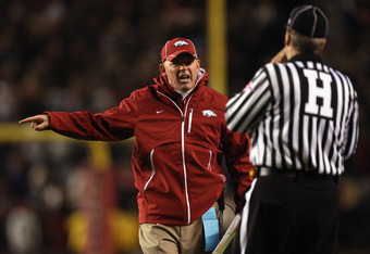 COLUMBIA, SC - NOVEMBER 06:  Head coach Bobby Petrino of the Arkansas Razorbacks reacts to a call against the South Carolina Gamecocks at Williams-Brice Stadium on November 6, 2010 in Columbia, South Carolina.  (Photo by Streeter Lecka/Getty Images)