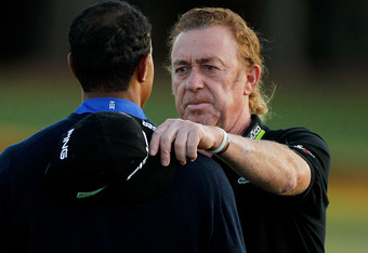 AUGUSTA, GA - APRIL 06:  Miguel Angel Jimenez (R) of Spain shakes hands with Tiger Woods of the United States after completing the second round of the 2012 Masters Tournament at Augusta National Golf Club on April 6, 2012 in Augusta, Georgia.  (Photo by S