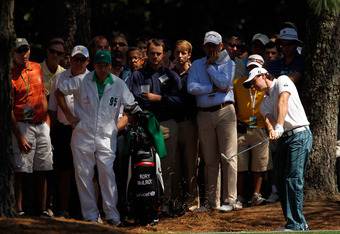 AUGUSTA, GA - APRIL 07:  Rory McIlroy of Northern Ireland hits out of the rough on the first hole during the third round of the 2012 Masters Tournament at Augusta National Golf Club on April 7, 2012 in Augusta, Georgia.  (Photo by Streeter Lecka/Getty Ima