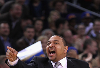 OAKLAND, CA - MARCH 27:  Head coach Mark Jackson of the Golden State Warriors shouts to his team during their game against the Los Angeles Lakers at Oracle Arena on March 27, 2012 in Oakland, California. NOTE TO USER: User expressly acknowledges and agree