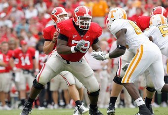 ATHENS, GA - OCTOBER 11:  Justin Anderson #79 of the Georgia Bulldogs blocks the line during the game against the Tennessee Volunteers at Sanford Stadium on October 11, 2008 in Athens, Georgia.  (Photo by Kevin C. Cox/Getty Images)