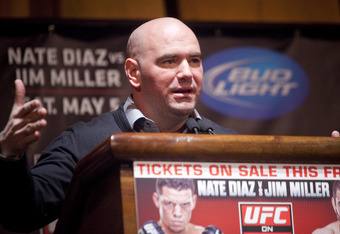 NEW YORK - MARCH 06:   UFC president Dana White speaks at a press conference at Radio City Music Hall on March 06, 2012 in New York City.  UFC announced that their third event on the FOX network will take place on Saturday, May 5 from the IZOD Center in E