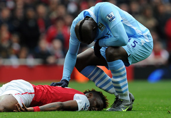 Scene after Mario Balotelli's horror tackle on Alex Song went unpunished
