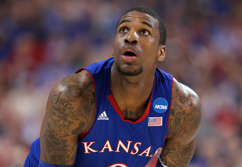 ST LOUIS, MO - MARCH 25:  Thomas Robinson #0 of the Kansas Jayhawks looks on in the first half against the North Carolina Tar Heels during the 2012 NCAA Men's Basketball Midwest Regional Final at Edward Jones Dome on March 25, 2012 in St Louis, Missouri.