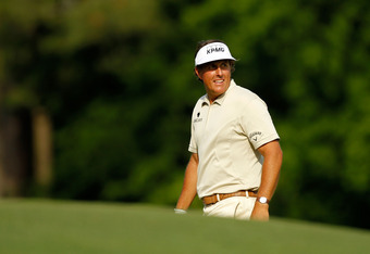 AUGUSTA, GA - APRIL 08:  Phil Mickelson of the United States looks on during the final round of the 2012 Masters Tournament at Augusta National Golf Club on April 8, 2012 in Augusta, Georgia.  (Photo by Streeter Lecka/Getty Images)