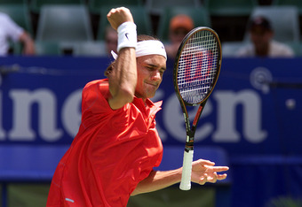 20 Jan 2001:  Roger Federer of Switzerland shows his frustration during his match against  Arnaud Clement of France, in the third round of the Australian Open Tennis Championships, played at Melbourne Park in Melbourne, Australia. Clement defeated Federer