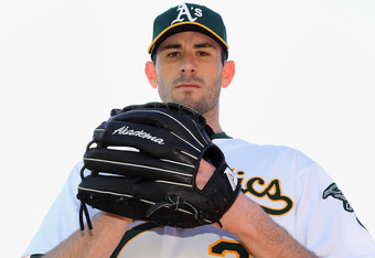PHOENIX, AZ - FEBRUARY 27:  Pitcher Brandon McCarthy #32 of the Oakland Athletics poses for a portrait during spring training photo day at Phoenix Municipal Stadium on February 27, 2012 in Phoenix, Arizona.  (Photo by Christian Petersen/Getty Images)