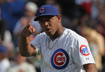 Whomever Carlos Marmol is pointing at, that person didn't blow a save.
