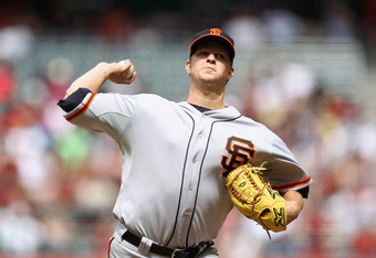 PHOENIX, AZ - APRIL 08:  Starting pitcher Matt Cain #18 of the San Francisco Giants pitches against the Arizona Diamondbacks during the MLB game at Chase Field on April 8, 2012 in Phoenix, Arizona.  (Photo by Christian Petersen/Getty Images)